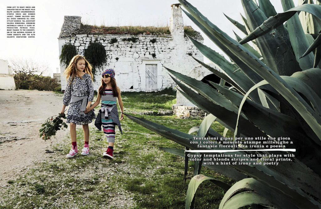 Beautiful Italian countryside for a kids fashion story by Marco Tassini