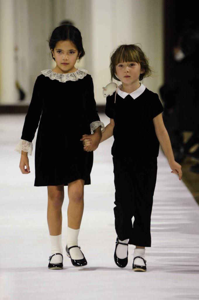 Black velvet and white crisp collars at Bonpoint kids fashion for fall 2017