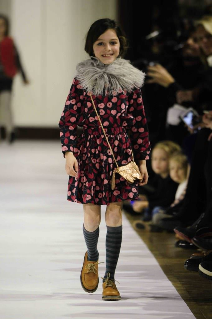 Autumnal prints and fluffy collars at Bonpoint for kids fashion winter 2017