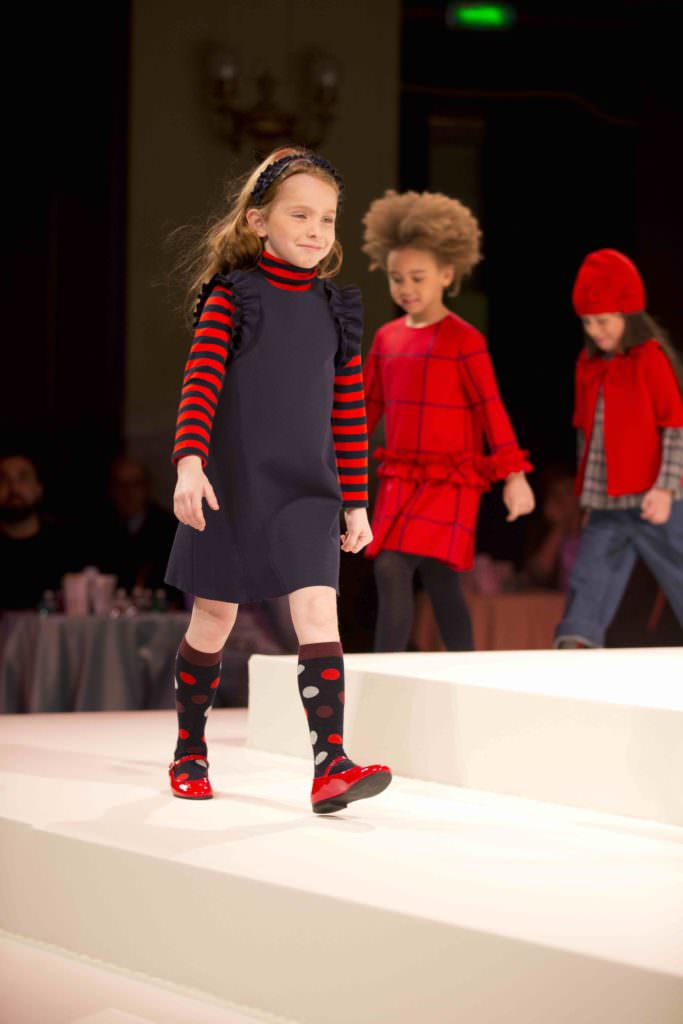 Graphic red looks for Il Gufo kids fashion in Italy for the winter 2017 season