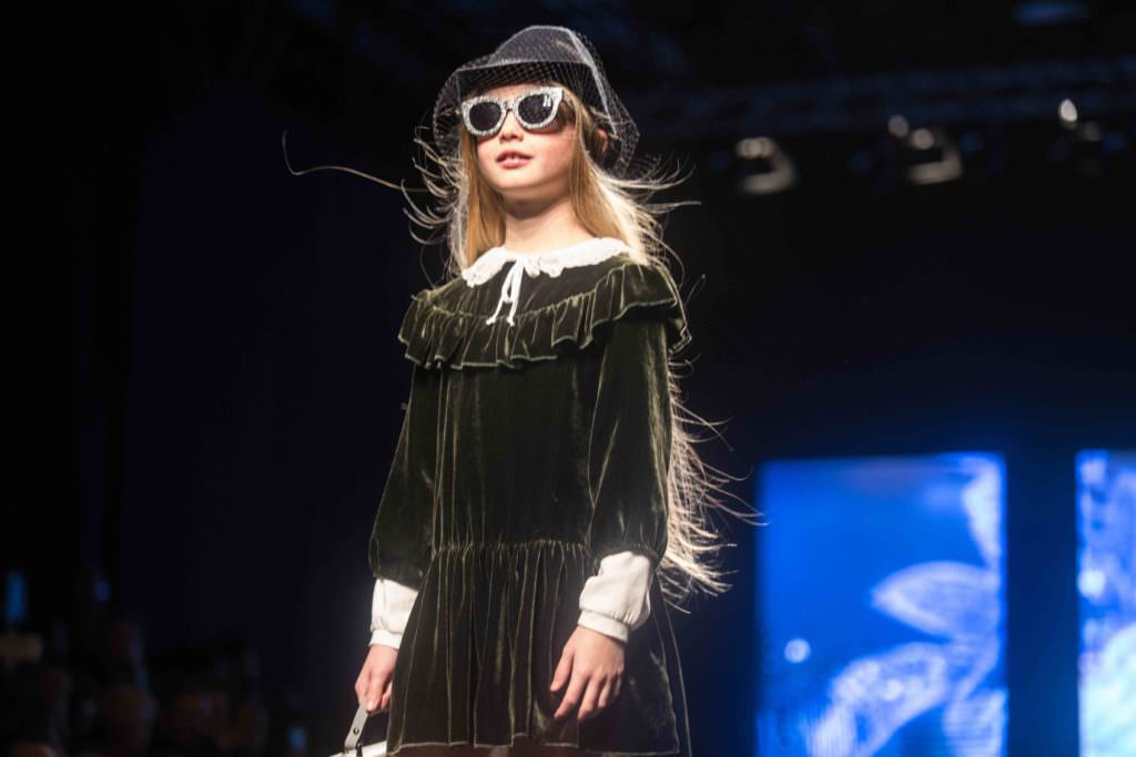Velvet is a strong trend for kidswear winter 2017, here flounced and pretty at Monnalisa