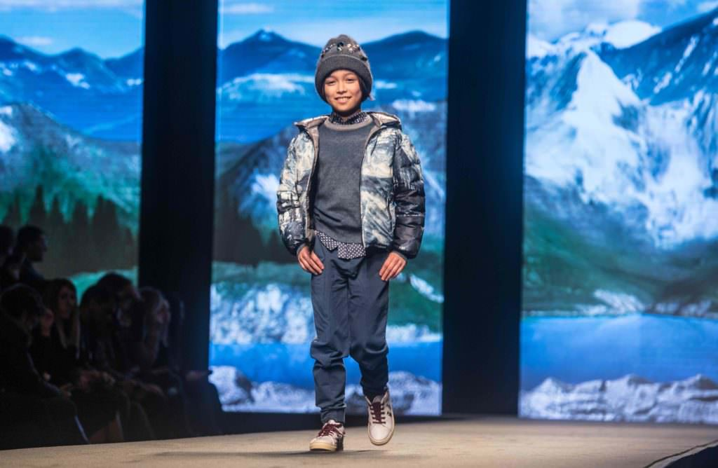 The boyswear for Hitchhiker featured photoprint padded bomber jackets at Monnalisa fall 2017 kids fashion