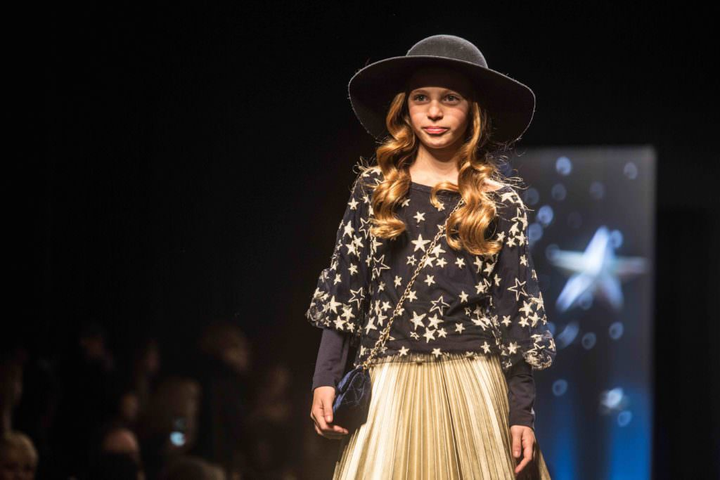 The very popular metallic pleated skirt featured on the runway for Monnalisa fall/winter 2017 kids collection