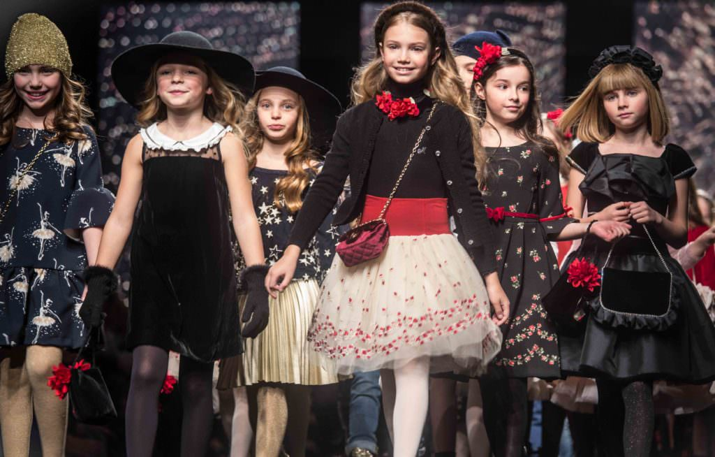 The finale of tens of models all parading down the catwalk together was very impressive at Monnalisa kids catwalk show in Florence