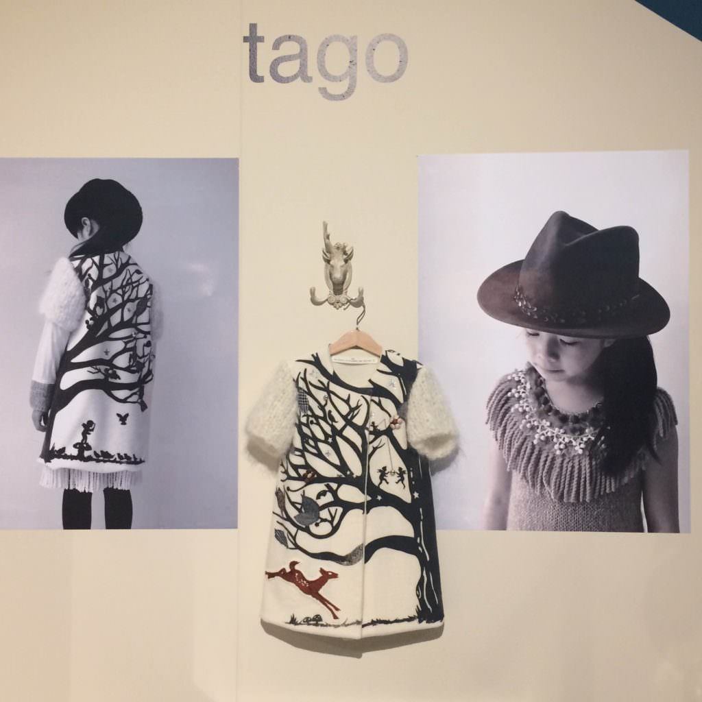 The label Tago from Japan had a stand out collection with this story tale wool coat at Pitti Bimbo kidswear trade show for AW17