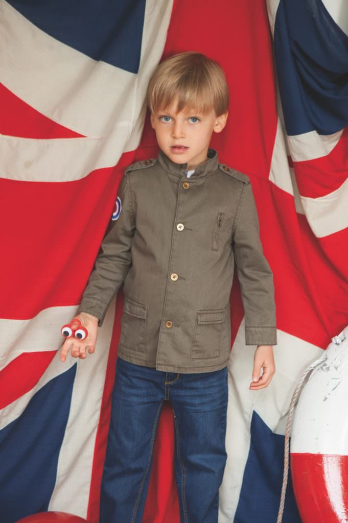 Badge details and a trim military jacket for boyswear by Wild & Gorgeous Spring 2017