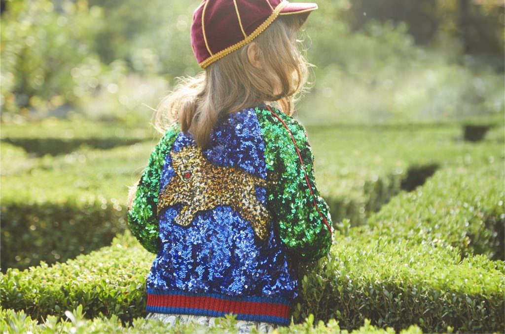 Amazing sequin bomber from Gucci Kids for spring 2017, a key kids trend item