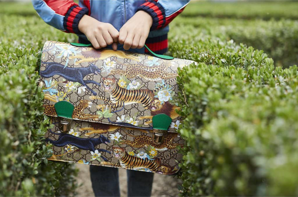 Fabulous print briefcase for the Kids collection at Gucci summer 2017