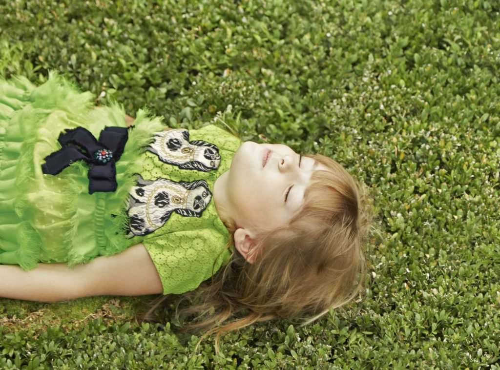 Beautiful Pantone colour of the season grass green dress by Gucci kids for 2017 luxury dressing