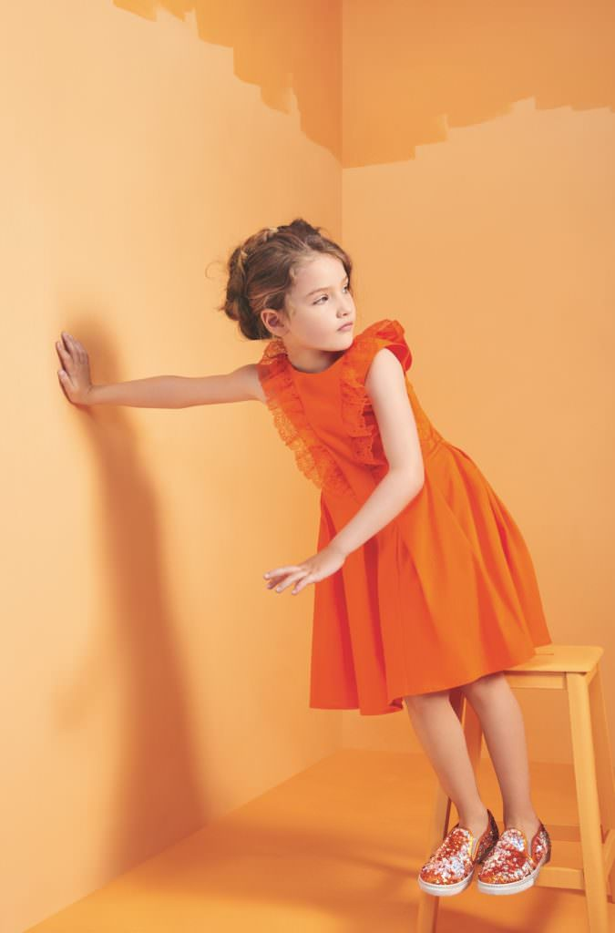 Bold tangerine, one of the hot trend colours for kids fashion spring 2017 at Baby Dior
