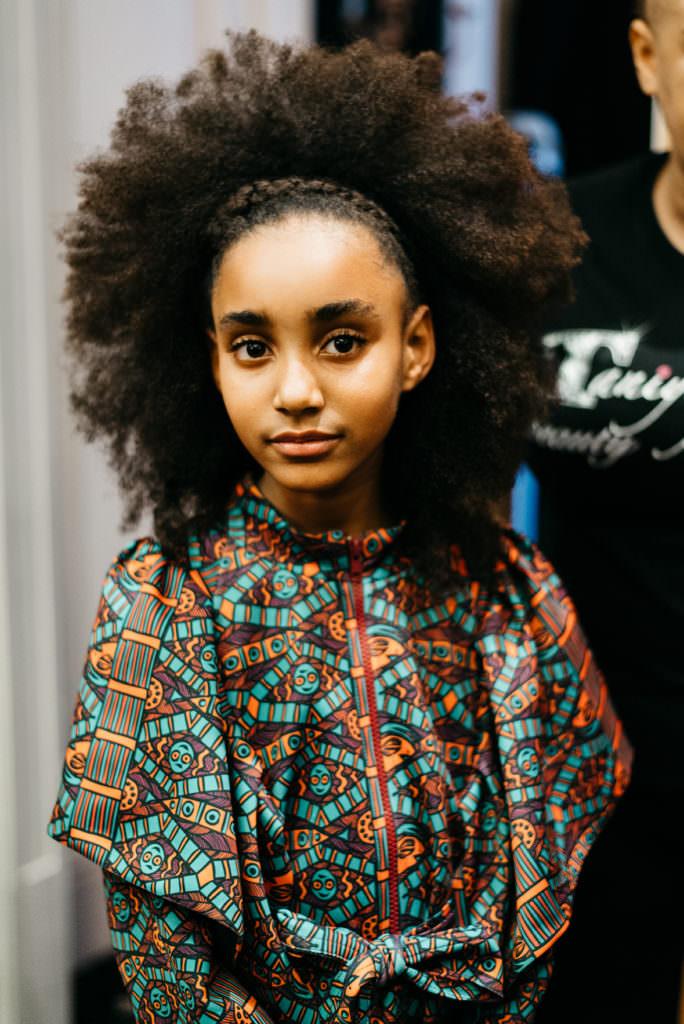 Backstage at Isossy kids catwalk at London Fashion Week showcasing fall 2017