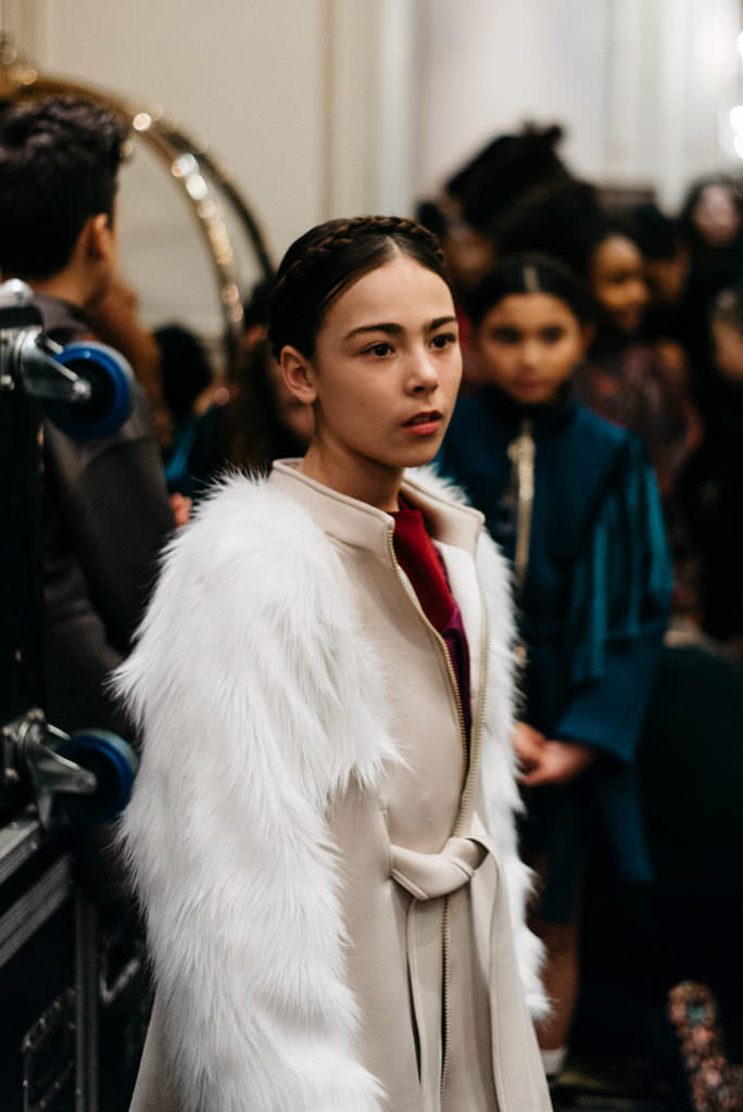 Waiting to walk... backstage at Isossy kids catawalk for fall 2017