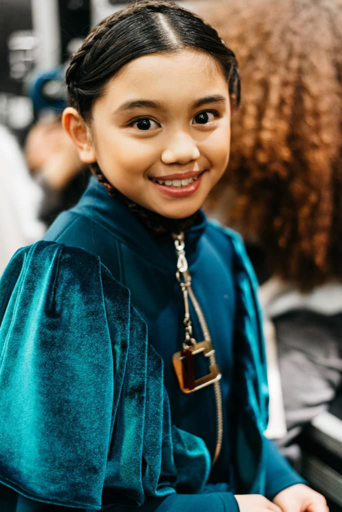 Deep jewel toned dress with soft batwing sleeves by Isossy kidswear for fall/winter 2017