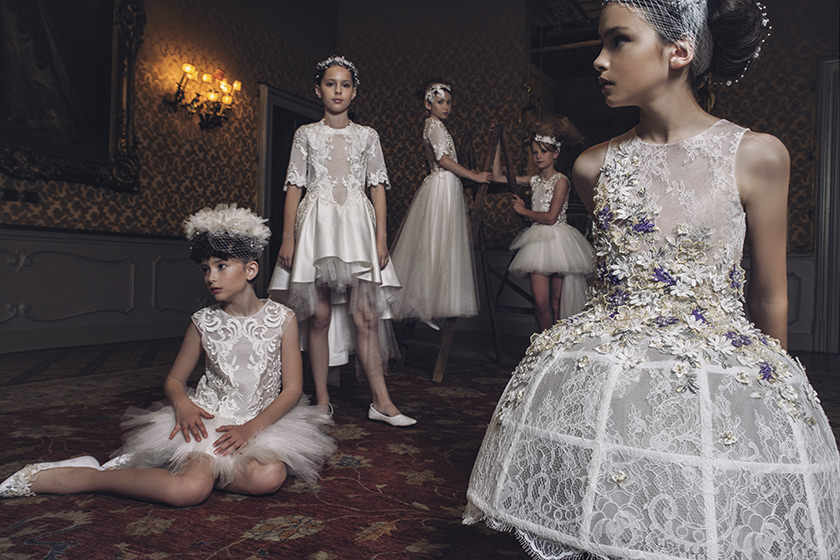 Fabulous white wedding bridesmaids or ceremony event dressing for girls from Mischka Aoki spring 2017