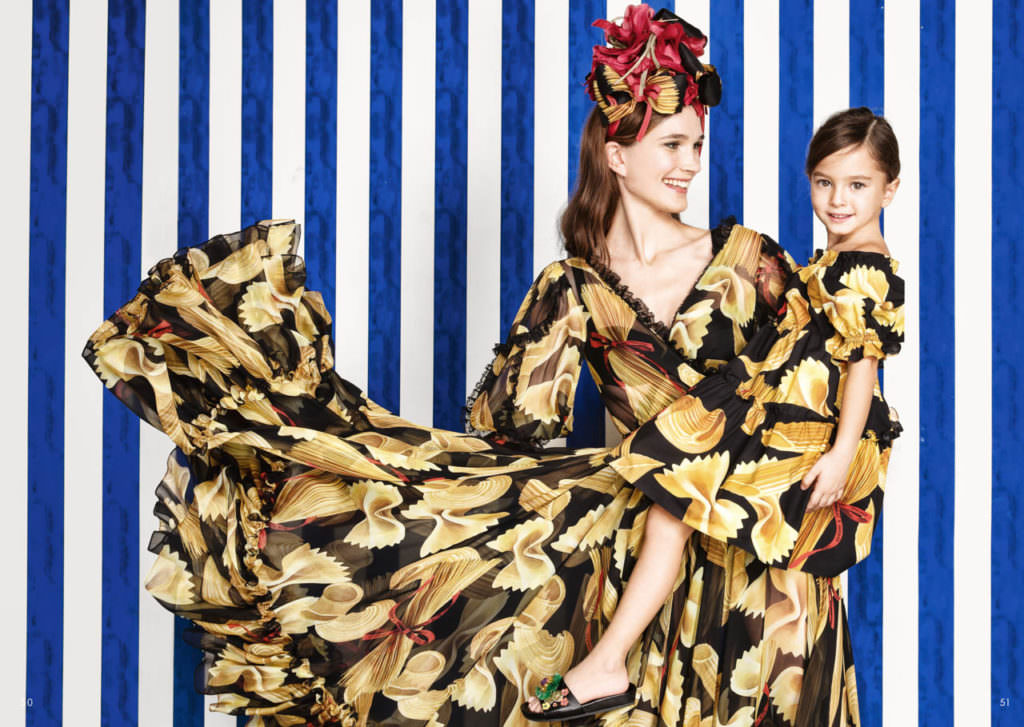 Fun photorealistic pasta print matching dresses at Dolce & Gabbana for spring 2017
