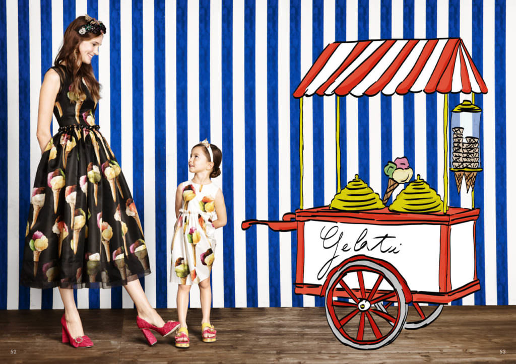 Always a highlight in Italy, the ice cream cart, Dolce & Gabbana Minime kidswear for summer 2017
