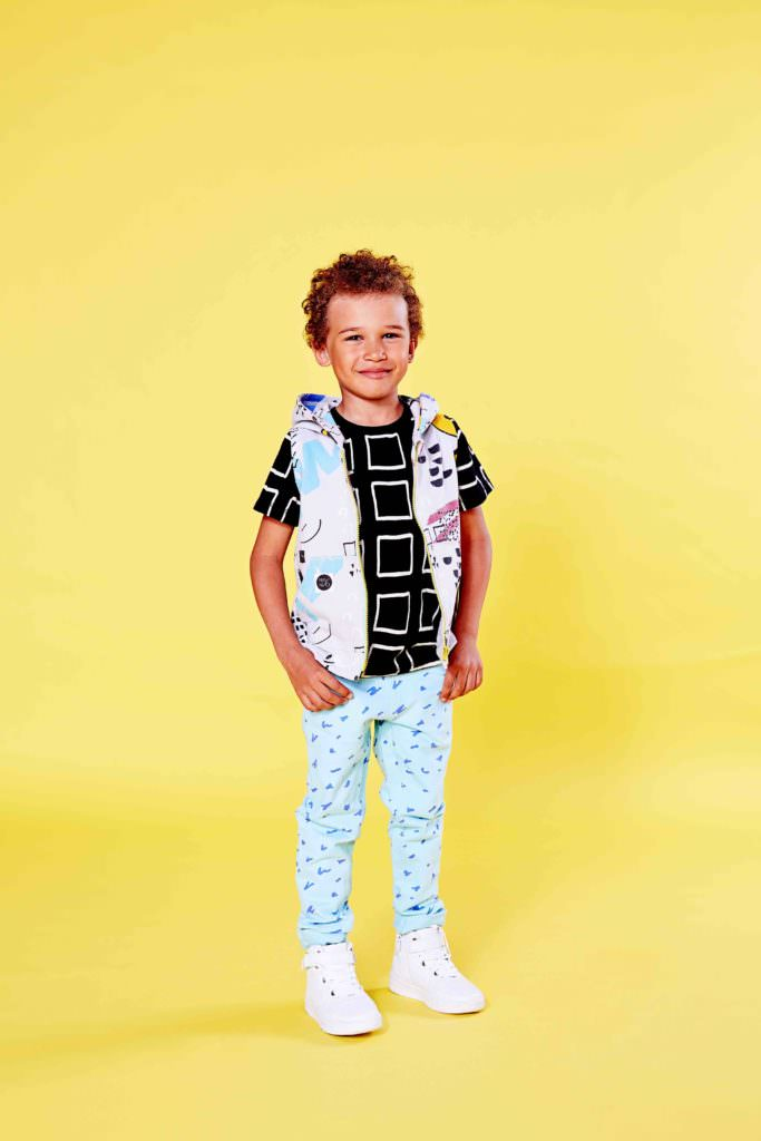 Boys share colours and prints with the girls at Mainio kids fashion spring 2017