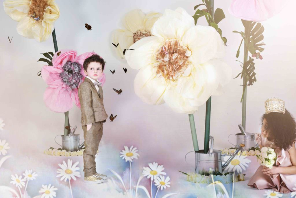 Little boys have smart soft tweeds and girls lilac satin dresses at Little Wardrobe London for summer 2017 parties