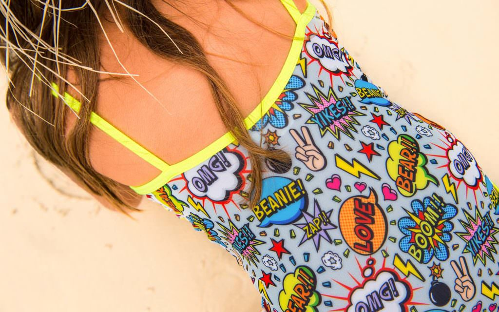 Cartoon Pop Art print for Beanie & Bear girls swimwear collection 2017