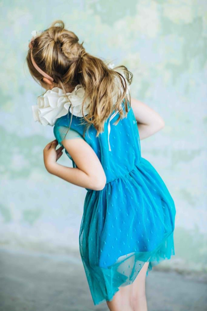 Spotted net summer dress by kidswear label Paade Mode for spring 2017