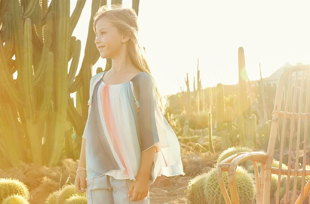 Beautiful soft rainbow colour top by Chloe kids fashion at Childrensalon summer 2017