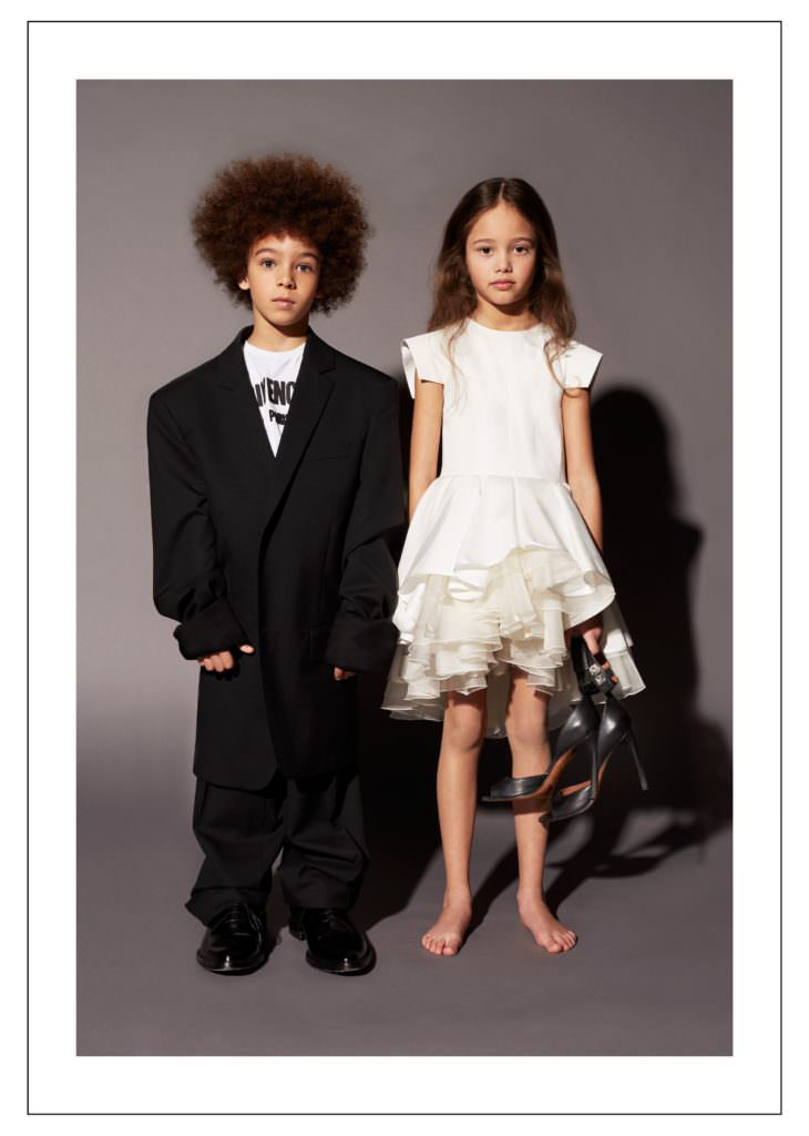 Girlswear party look and boys oversized coat for Givenchy fall 2017 kids collection