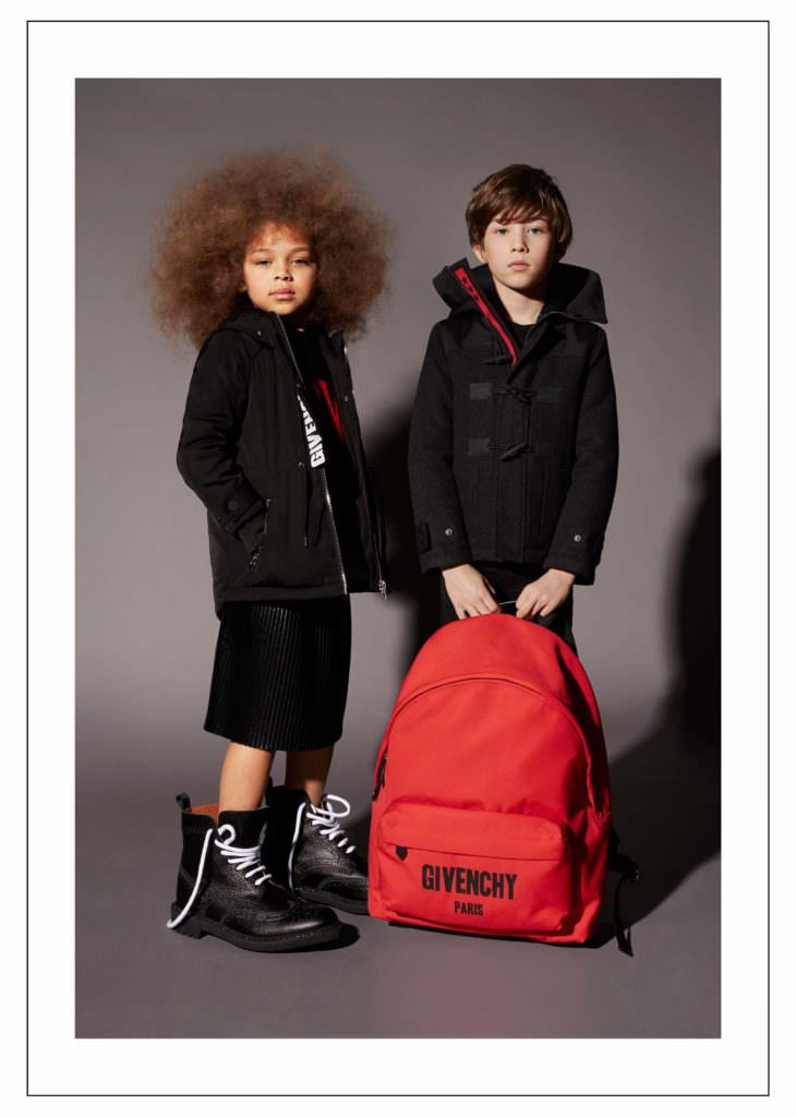 Oversized props accessorise the very cool Givenchy kids fashion collection new for fall/winter 2017