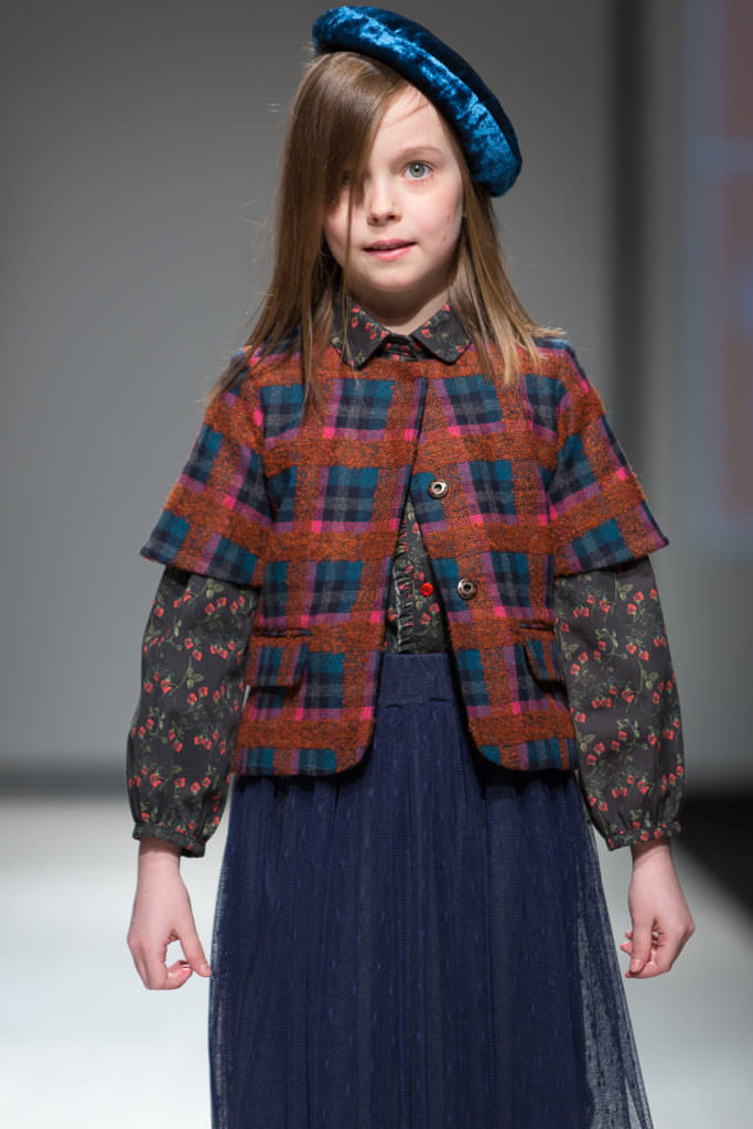 Trend styles at Paade Mode for kids fashion with tweed, floral and bright velvet fabric mixes for fall 2017