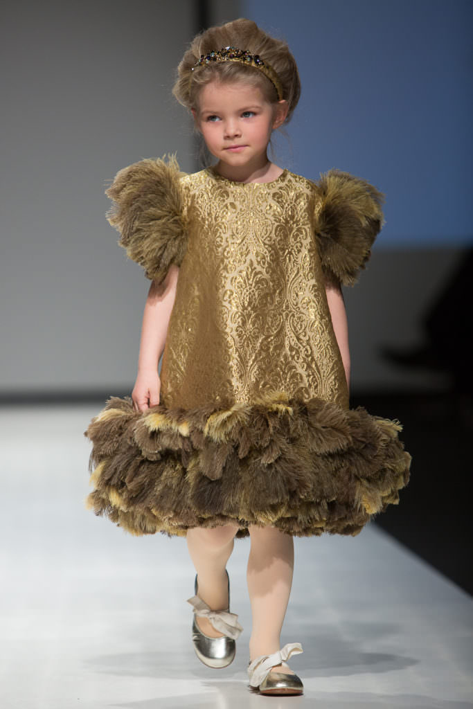 Silk brocade and feathers for a fun party dress by Aristocrat Kids for Holiday 2017