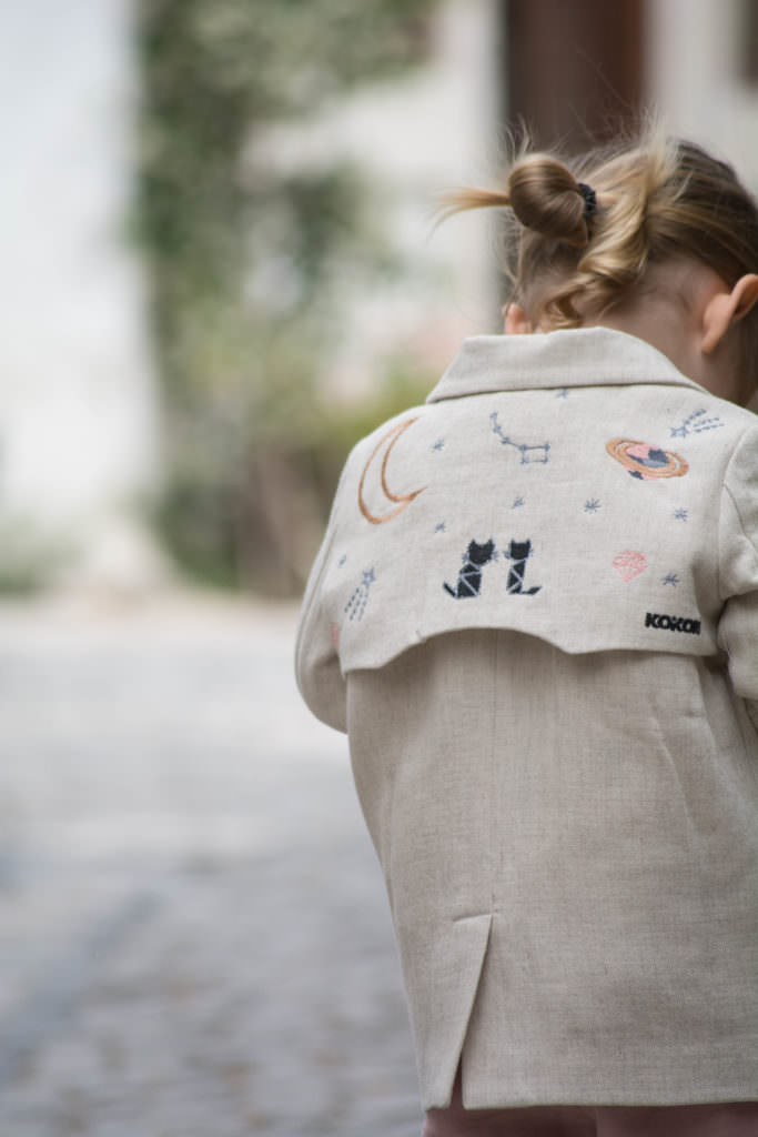 Love the embroidered details on this linen jacket by KOKORI Kids for spring 2017