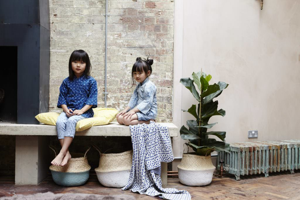 Block cotton prints in a traditional style are used for Olive Loves Alfie kimonos