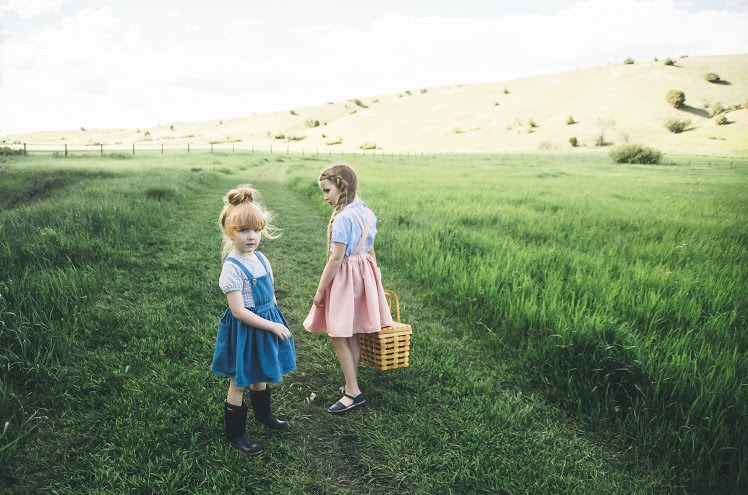 Denim bib dresses and Liberty fabric tops from Milou & Pilou from Barcelona