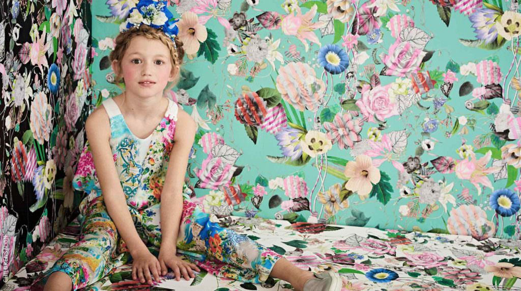 Loredana Print Jumpsuit, Patachou Floral handmade hairband, UNISA Silver Leather Trainers