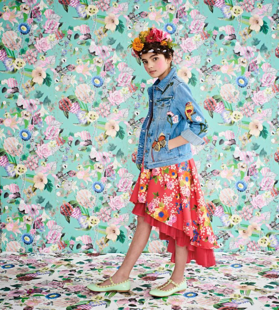Junior Gaultier floral satin dress, Gucci embroidered denim jacket, GRACI flower hairband with added flowers, Step2wo green patent shoes