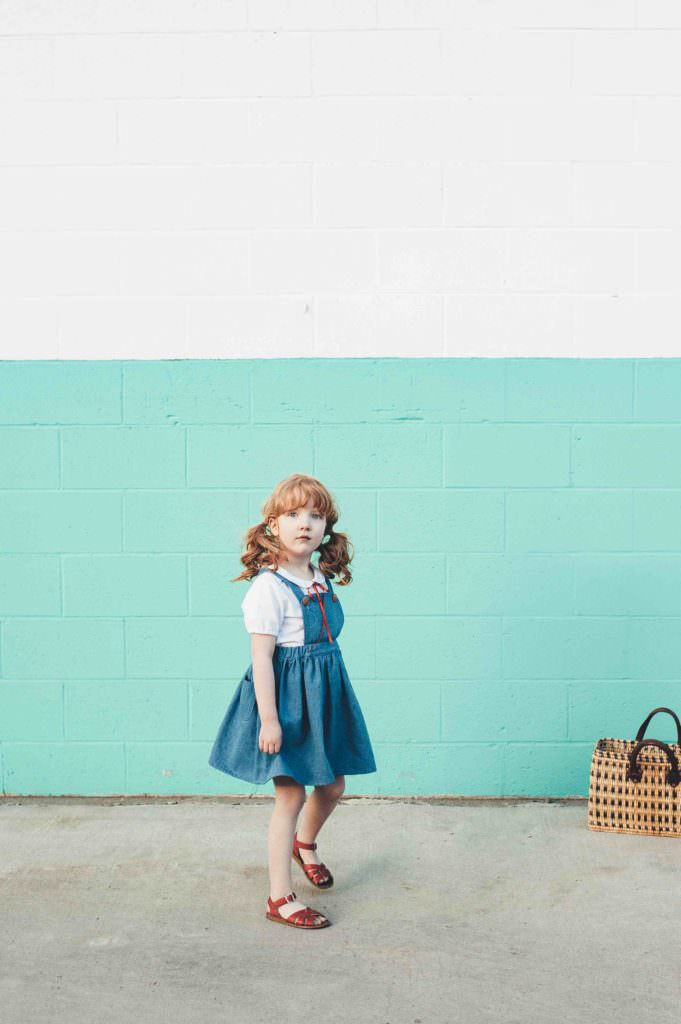 Vintage look kidswear by Milou & Pilou with classic bib style dresses for summer 2017