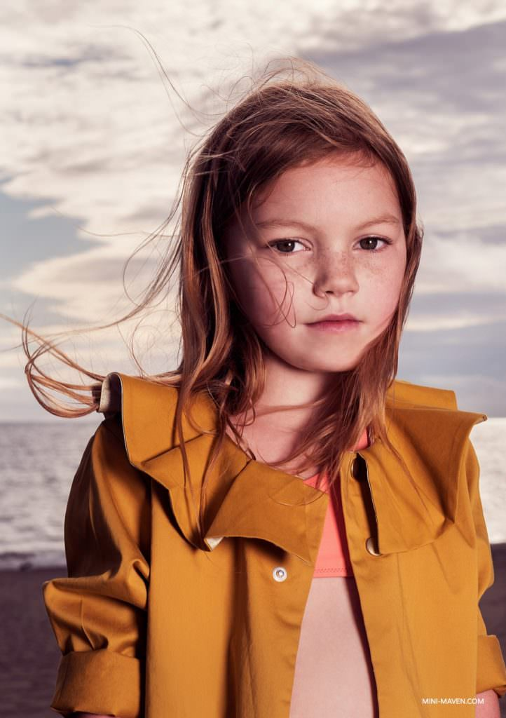Jacket from Motoreta, swimsuit from Pacific Rainbow for Mini Maven magazine kids fashion