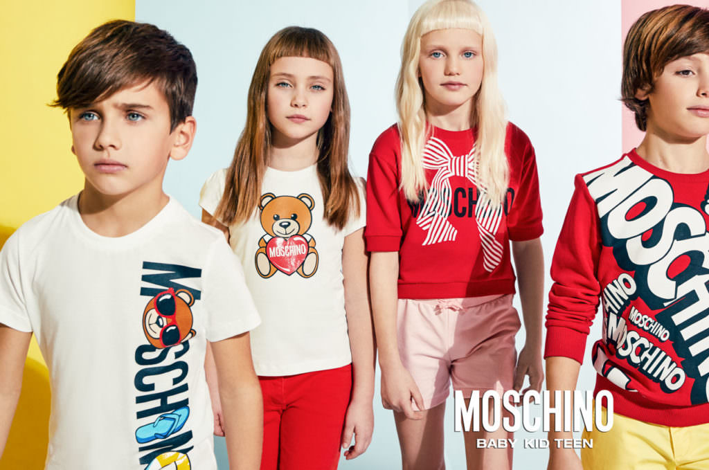 Moschino 2017 summer campaign for kidswear with bold colour choices