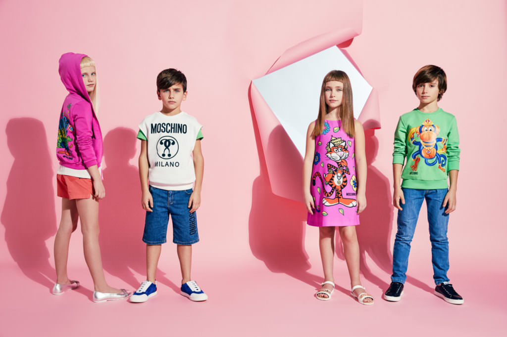 Pink and Green should never be seen - well thats what they used to say! Moschino summer kidswear goes bright for 2017