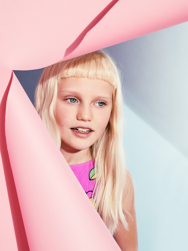 Summer kids fashion with pop bright colour at Moschino kidswear