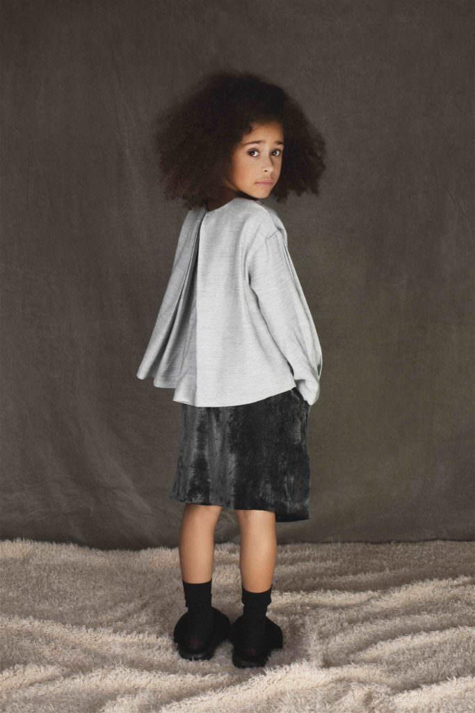 Velvet skirt and fluffy slippers at UNLABEL for fall/winter 2017 kidswear