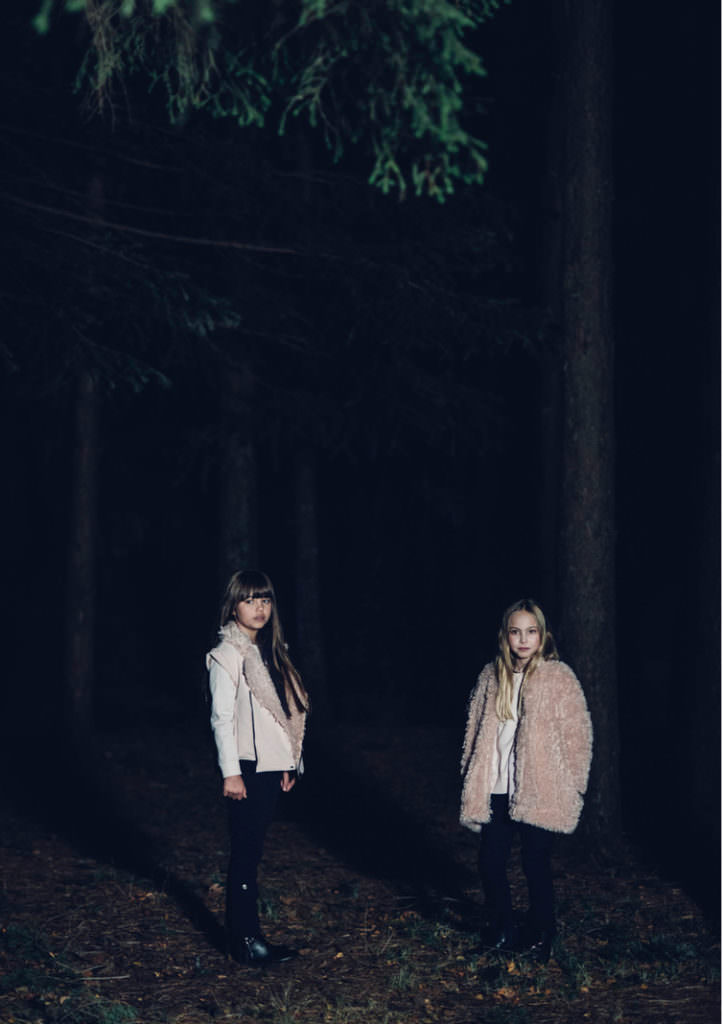 Shaggy palest pink fake fur coats and jackets from Andorine for winter 2017 girls fashion