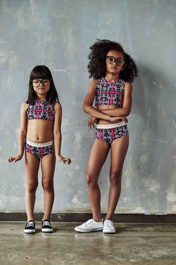 Bold prints from EFVVA for the girlswear capsule active collection to be revealed at Playtime New York in August