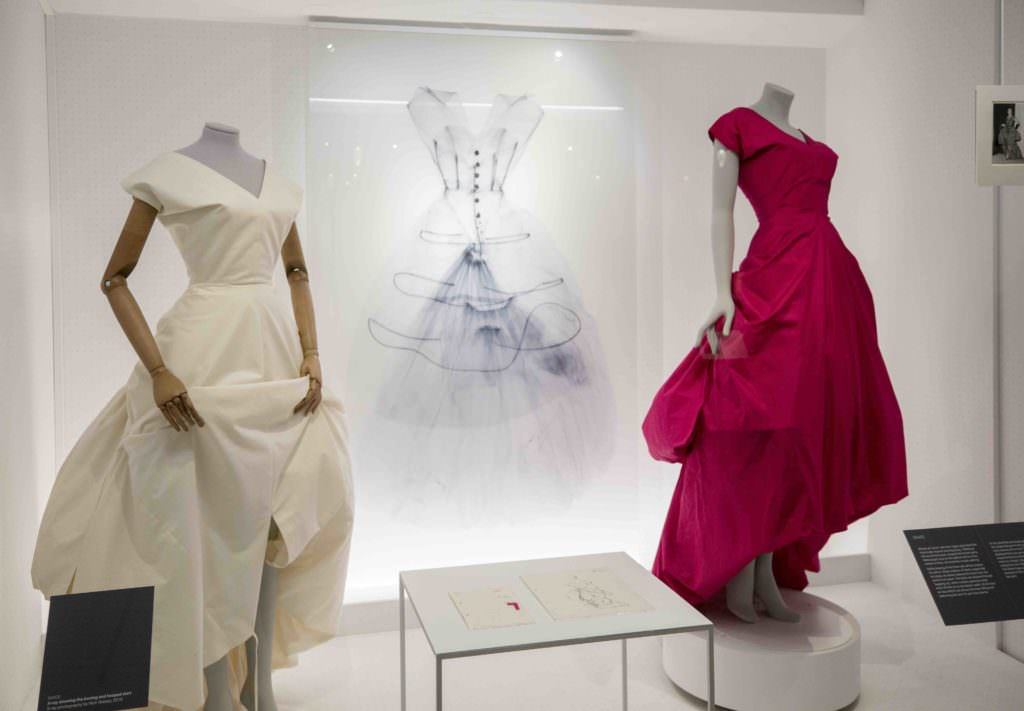 Balenciaga Shaping Fashion at the V&A showing one of the X-Ray photographs to reveal the inner workings of gowns by Nick Veasey