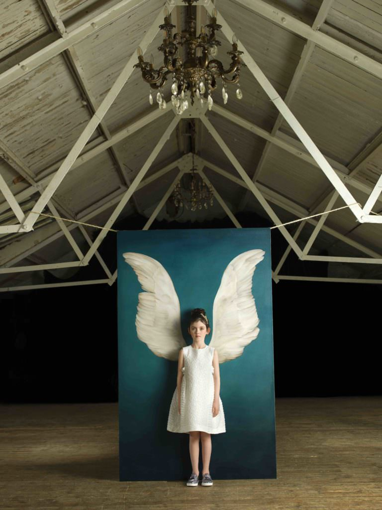 Kids portrait photography with a winged theme by Julia Boggio, Mayla's dress by Fendi, shoes from Step2wo