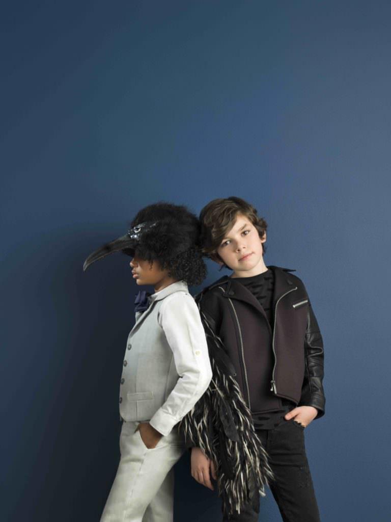 Jayden is wearing Little Wardrobe. Tom wears Someday Soon shirt, Galliano Kids jacket and Molo jeans.