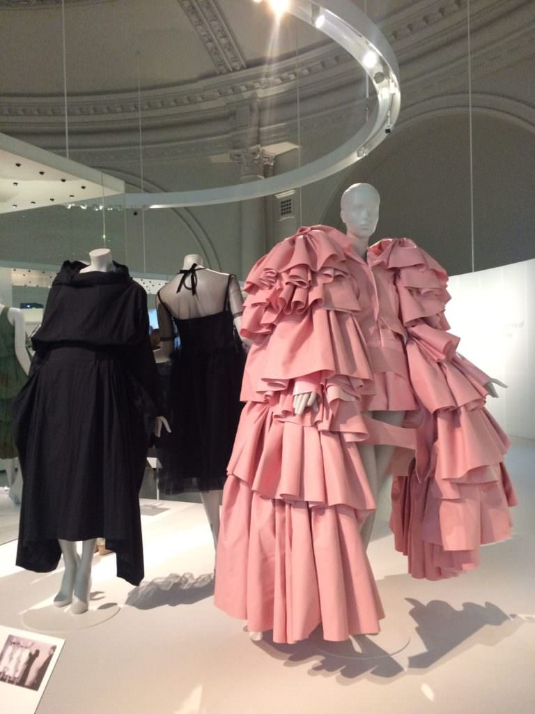 The shock of Balenciaga's sack dress is compared to the shock of Commes Des Garcons increasingly architectural style