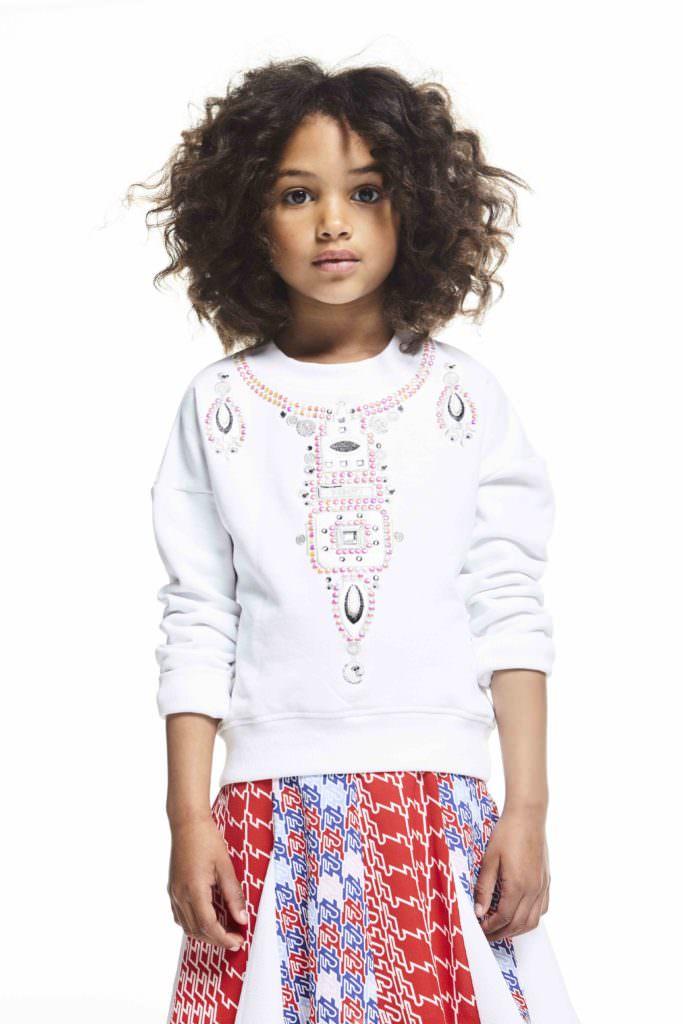 Jewelled pattern sweatshirt and graphic print skirt by Kenzo kidswear