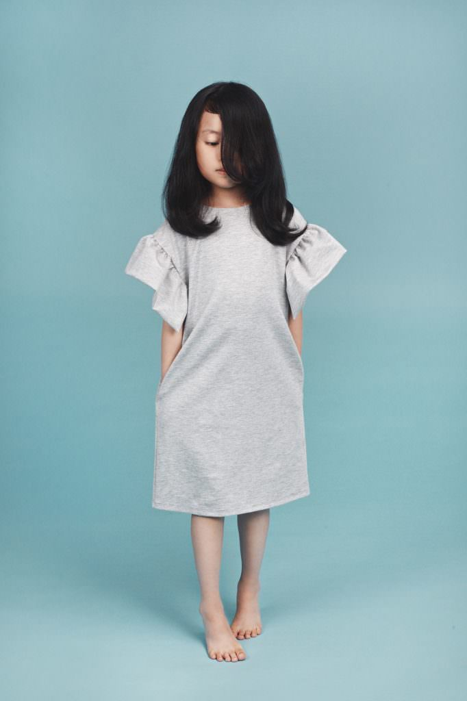 Mummymoon angel dress in grey from AmeliaJCollection.com summer kids fashion