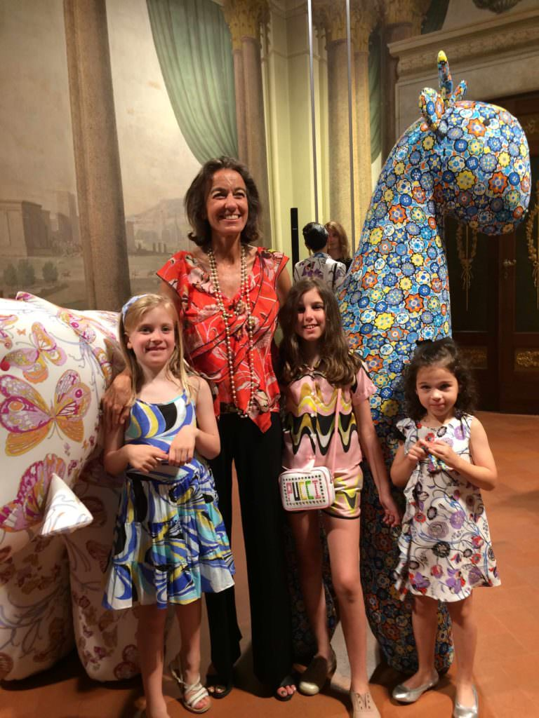 Laudomila Pucci and some of the models wearing the Pucci Kids new collection of mini me's for spring/summer 2018
