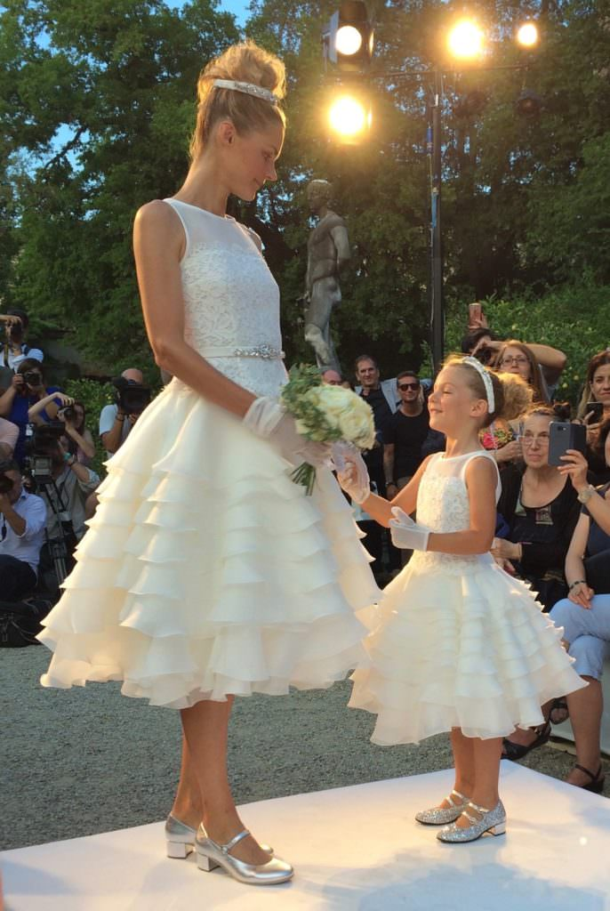 The first time I've seen a bride on the kids catwalk with a Mommy and Me collection at Monnalisa for SS18